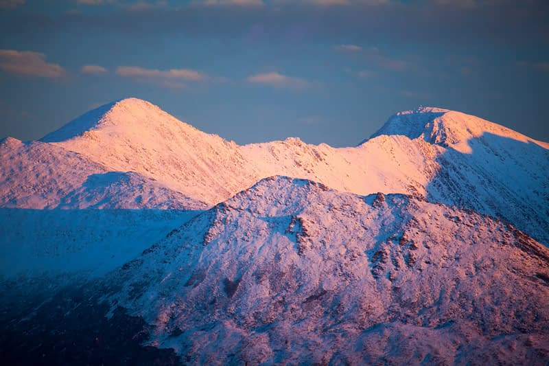 Winter evening light on Carrauntoohil, MacGillycuddy's Reeks, County Kerry, Ireland.