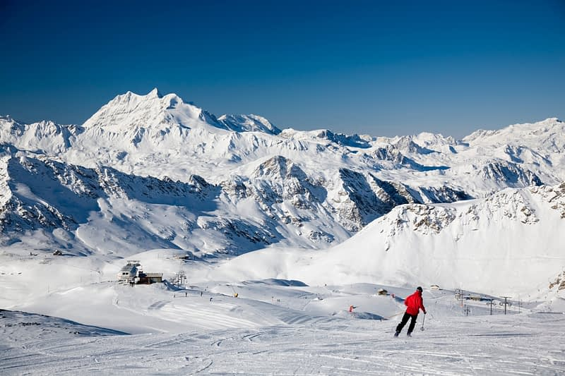Skiing at Courcheval, French Alps, France.