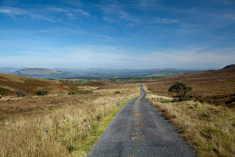 Remote lane in the Ox Mountains, Co Sligo, Ireland.