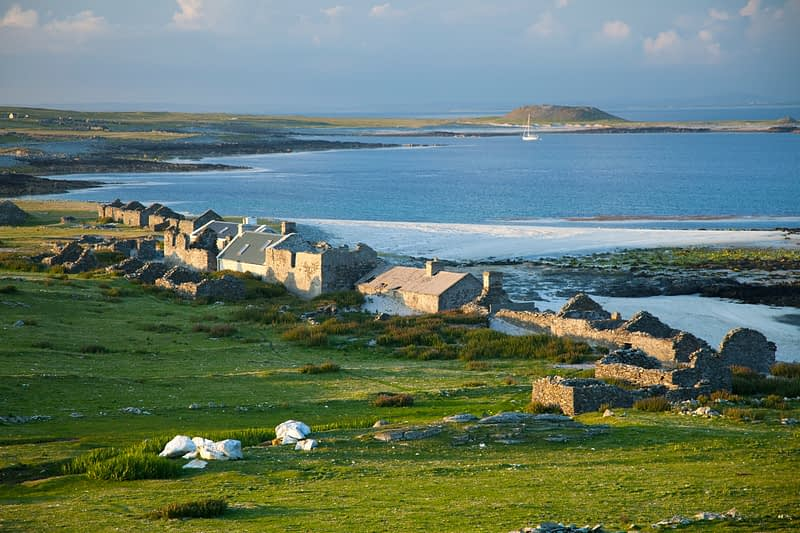 The deserted village of Inishkea South Island, County Mayo, Ireland.