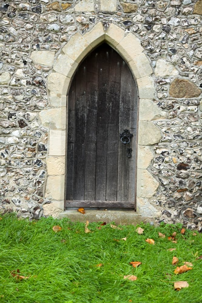 Door, St Pancras 13th century church, Kingston, County Sussex, England.