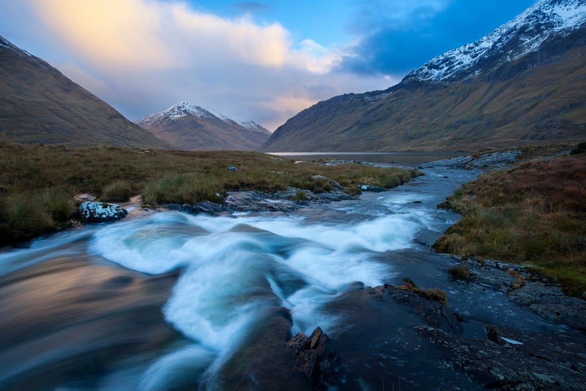 Winter sunset on Glencullin River and Doolough, County Mayo, Ireland.