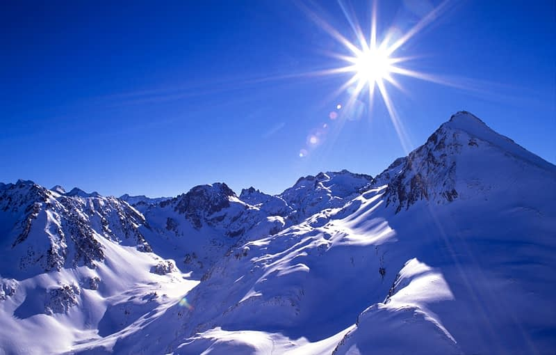 Winter sun and mountains, Parc National des Pyrenees, France.