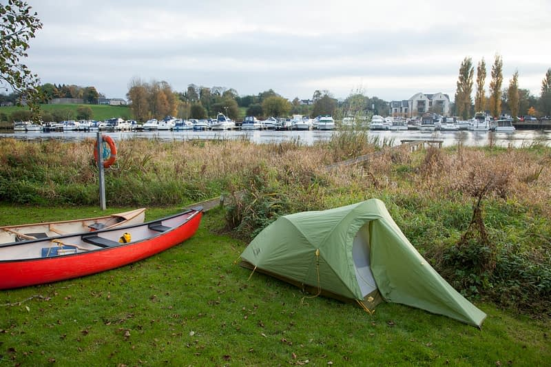 Camping opposite Bellanaleck marina, Upper Lough Erne, County Fermanagh, Northern Ireland.
