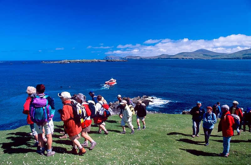 Walkers arriving on Great Blasket Island, Co Kerry, Ireland.