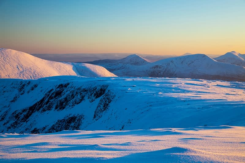 Winter view of the Nephin Beg Mountains from Slieve Carr, Co Mayo, Ireland.