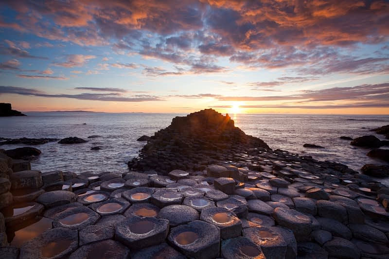 Sunset, Giant's Causeway, Co Antrim, Northern Ireland.
