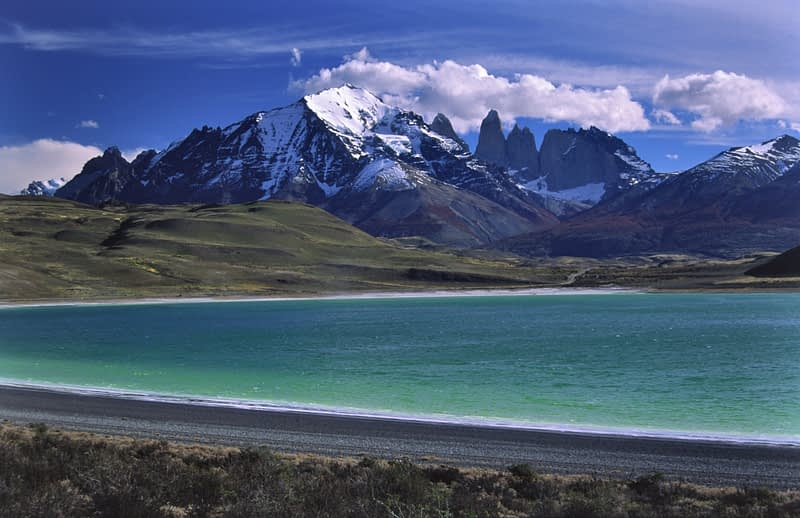 Turquoise waters of Laguna Amarga, Torres del Paine National Park, Patagonia, Chile.