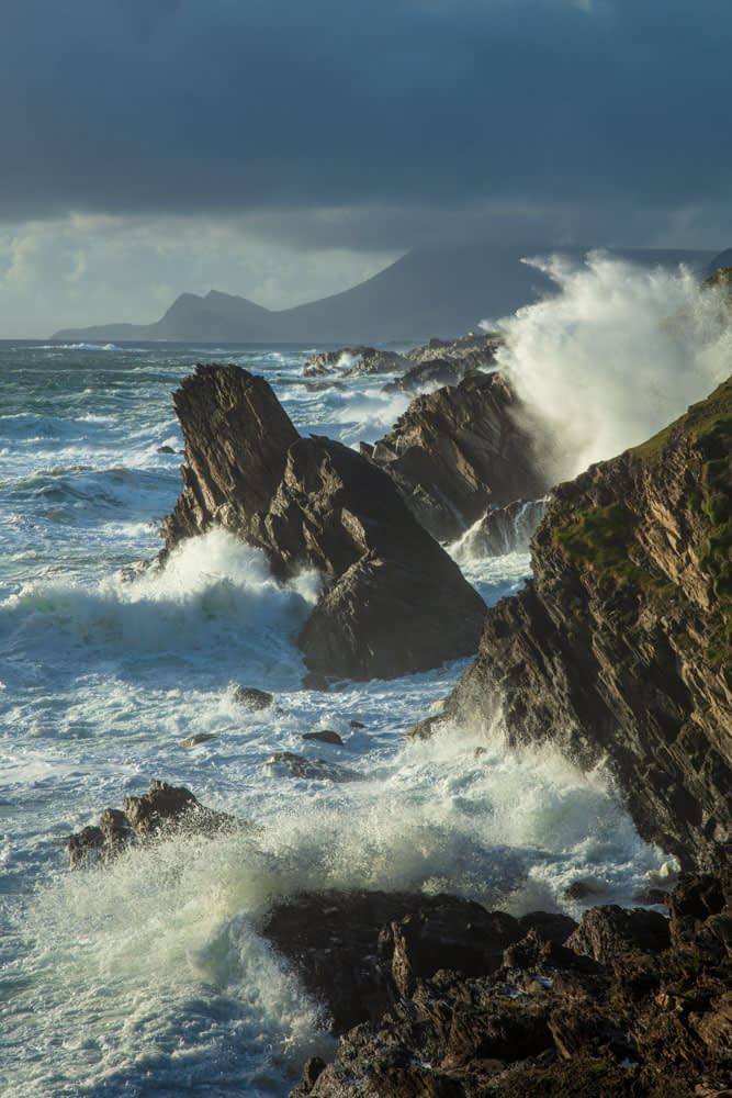 Storm waves crashing along the Atlantic Drive, Achill Island, County Mayo, Ireland.