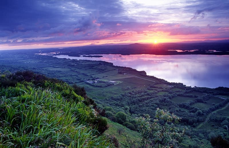 Sunset over Lower Lough Erne from the Cliffs of Magho, Co Fermanagh, Northern Ireland.