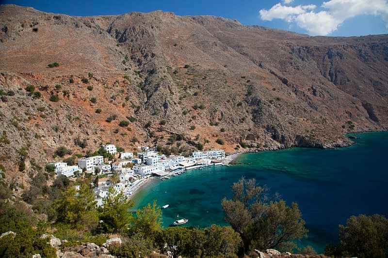 The village of Loutro beneath the White Mountains, Sfakia, Crete, Greece.