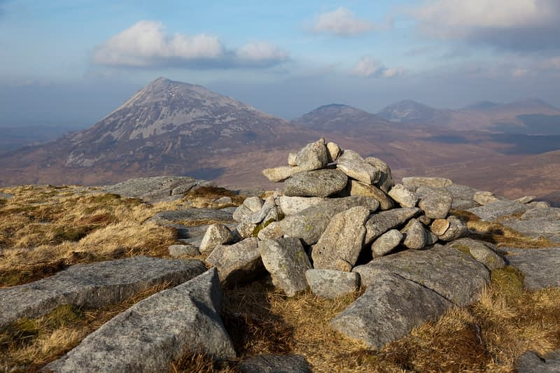 Carin on the summit of Drumnaliffern Mountain, Derryveagh Mountains, Co Donegal, Ireland.