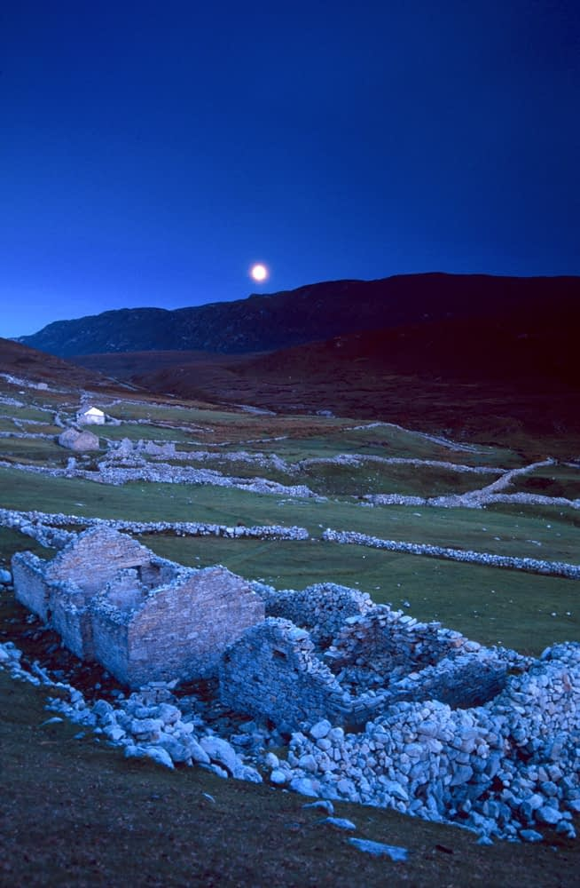 Moonrise over the deserted village of Port, Co Donegal, Ireland.