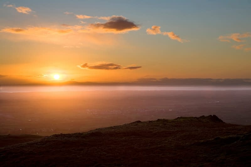 Sunset view from Slieve Gallion, Co Derry, Ireland.