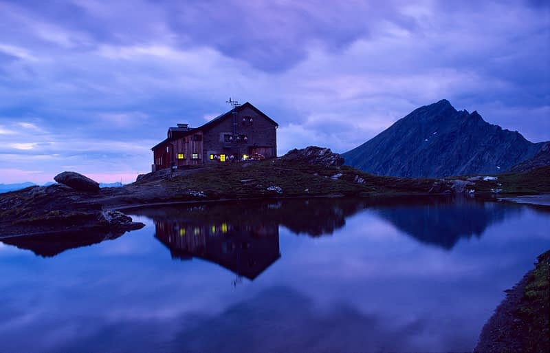 Sudetendeutscher Hut at dusk, Hohe Tauern National Park, Austria.