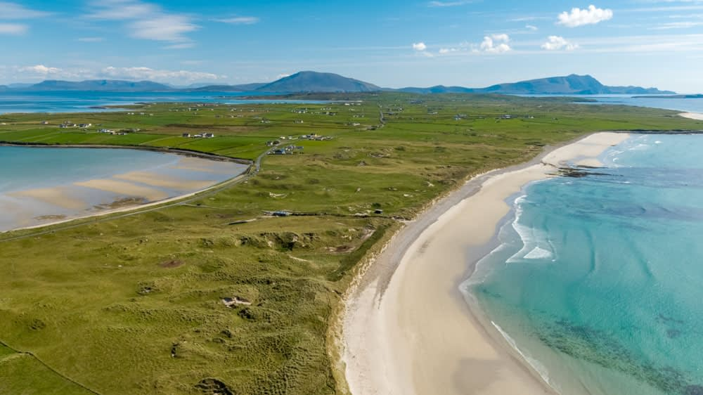 Aerial view over Elly Bay Beach, Belmullet Peninsula, County Mayo, Ireland.
