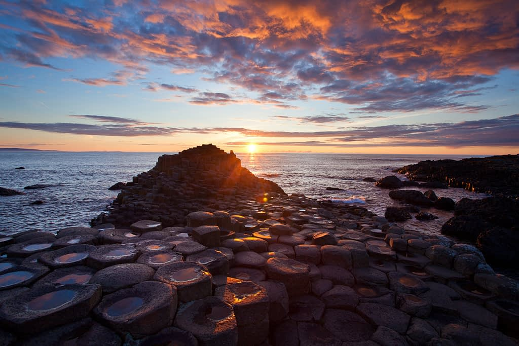 Sunset at the Giant's Causeway, on our photography vacation holiday, Northern Ireland