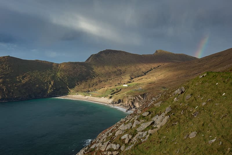 Rainbow above Keem Bay, Achill Island, County Mayo, Ireland.