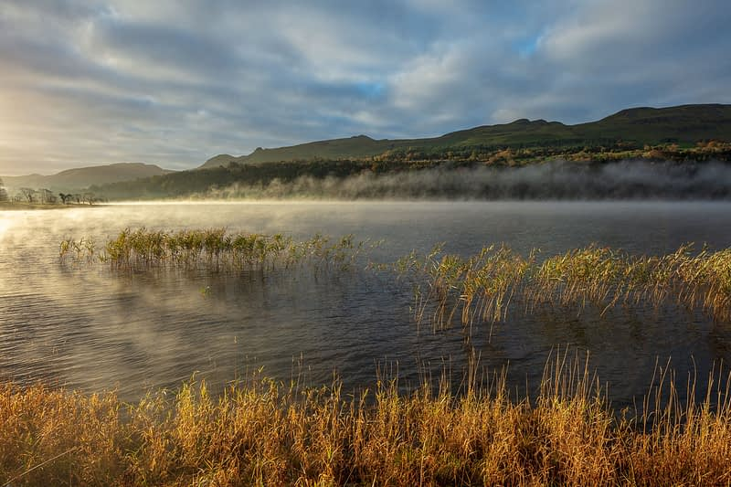 Morning mist over Glencar Lake, County Sligo, Ireland.