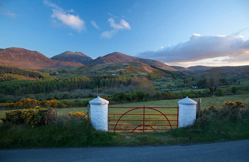 Farm gate, Mourne Mountains, County Down, Northern Ireland.