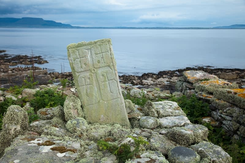 Cross carved pillar from a sixth century monastery, Inishmurray island, County Sligo, Ireland.
