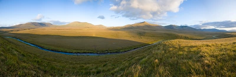 Owenduff River and Nephin Beg Mountains, Ballycroy National Park, Co Mayo, Ireland.