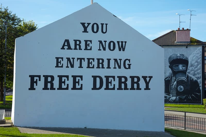 Free Derry Corner in the Bogside, Derry city, County Derry, Northern Ireland.