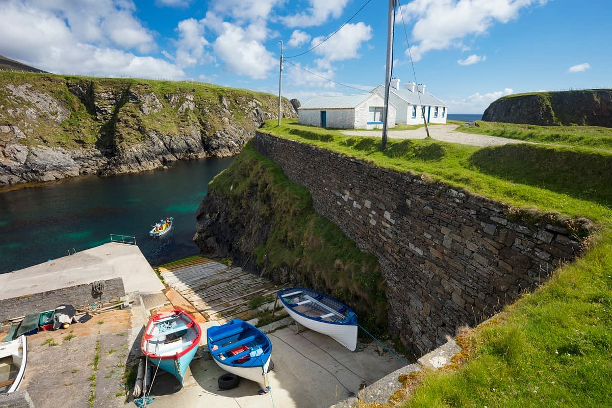 Fishing boats at Malin Beg Harbour, County Donegal, Ireland.