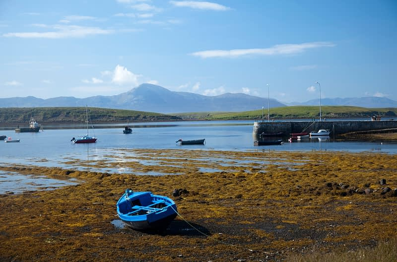 Rockfleet Bay and Croagh Patrick, Clew Bay, Co Mayo, Ireland.
