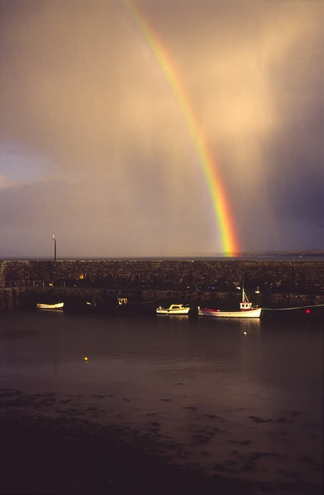 Rainbow over Mullaghmore harbour, Co Sligo, Ireland.