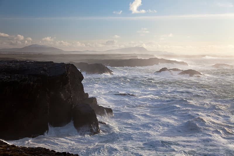 Stormy seas near the cliffs of Belmullet, Co Mayo, Ireland.