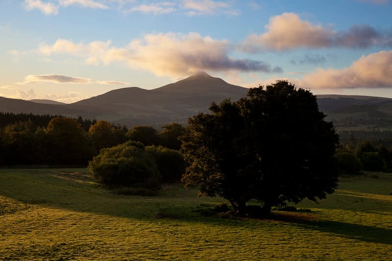 Dawn over Great Sugarloaf mountain from Powerscourt estate, Co Wicklow, Ireland.