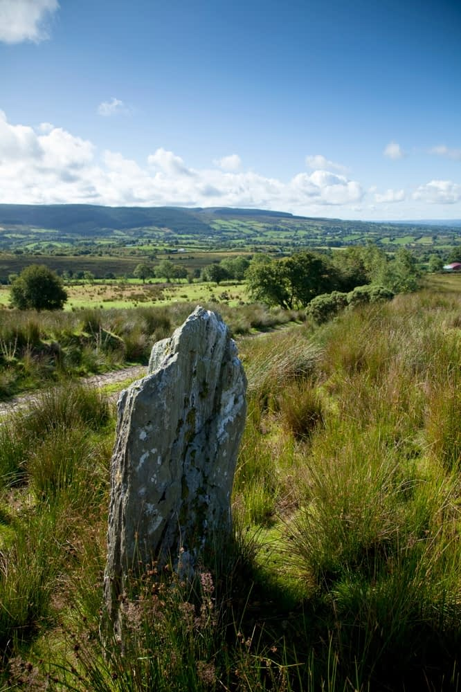 Standing stone near Eskradooey, Robbers Table, Co Tyrone, Northern Ireland.