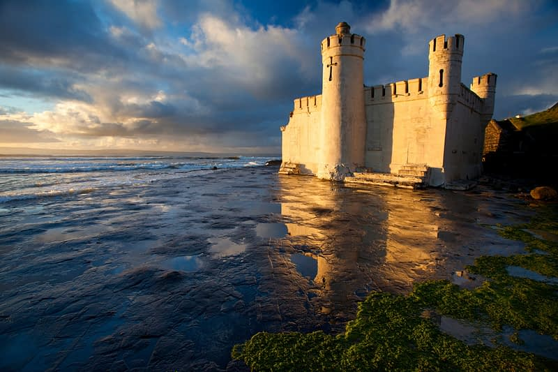 Evening light on the old seaweed baths, Enniscrone, Co Sligo, Ireland.