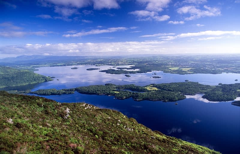 View over the Killarney Lakes from Torc Mountain, Co Kerry, Ireland.