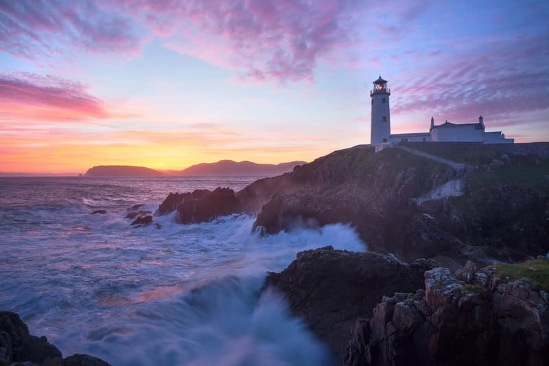 Sunrise over Fanad Head Lighthouse, Fanad Head, County Donegal, Ireland.