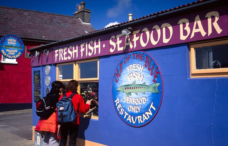Colourful seafood restaurant, Dingle town, Co Kerry, Ireland.