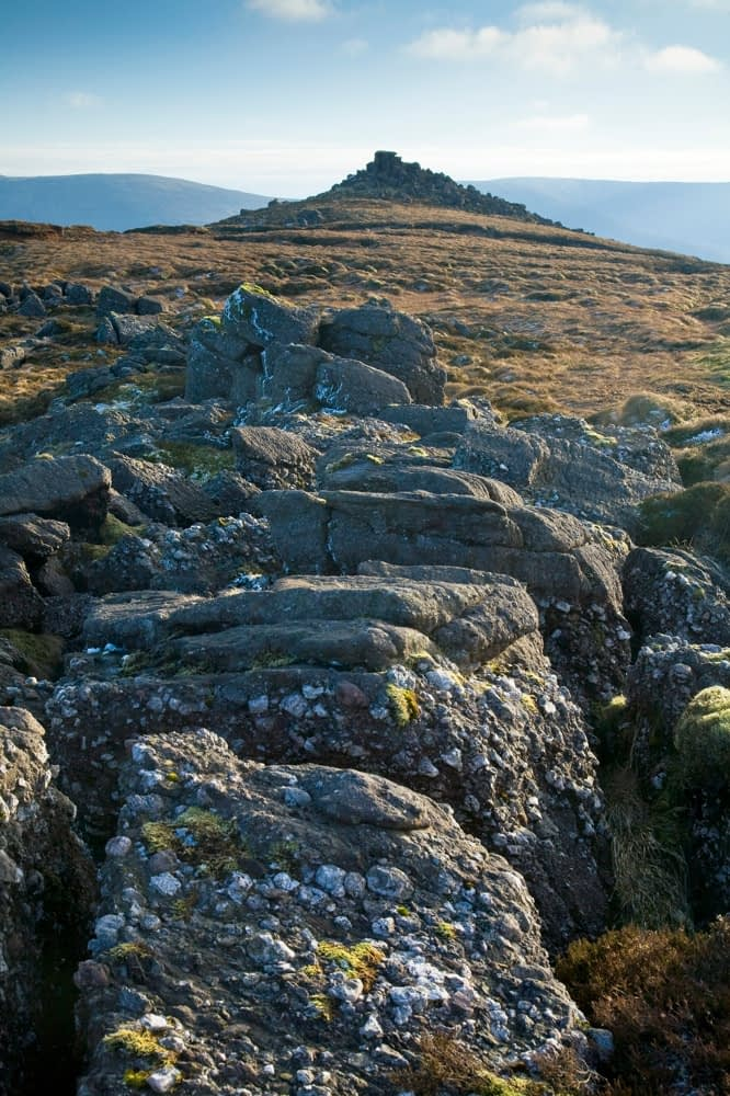 Conglomerate rock, Knockanaffrin Ridge, Comeragh Mountains, Co Waterford, Ireland.