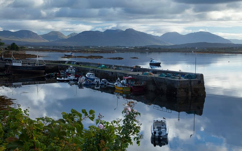 Roundstone harbour beneath the Twelve Bens, Connemara, Co Galway, Ireland.