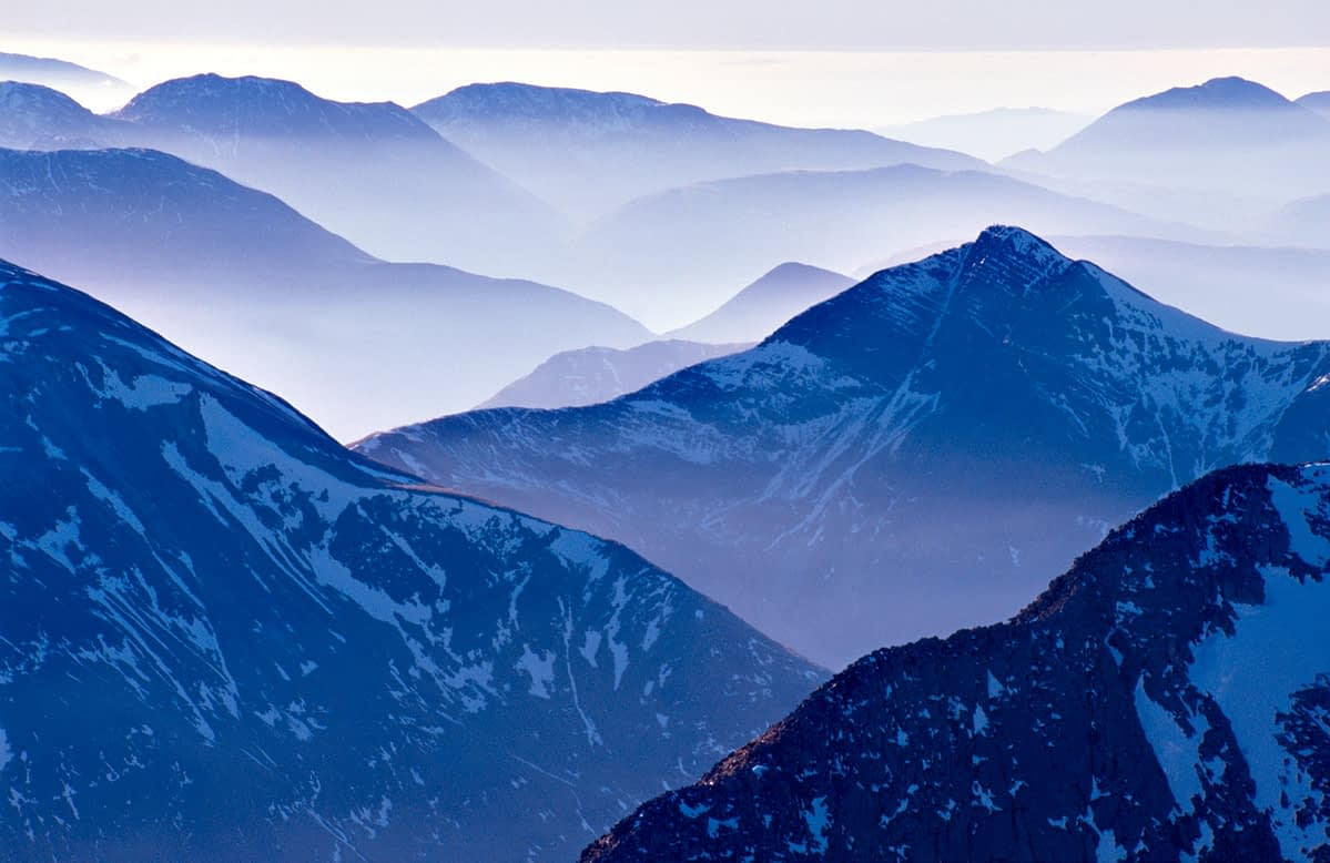 View across the Mamore Mountains from the summit of Ben Nevis, Scotland.