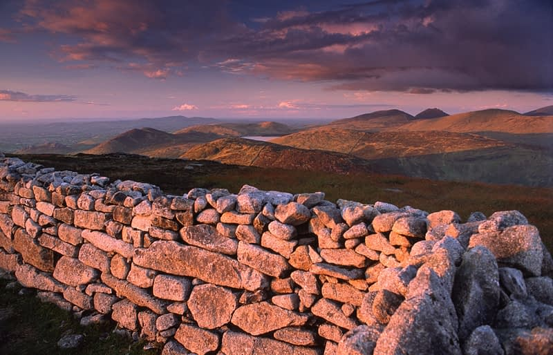 Evening light on Batts Wall, Eagle Mountain, Mourne Mountains, Co Down, Northern Ireland.
