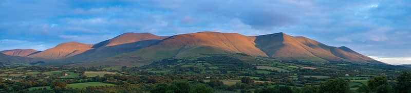 Evening light on the Galtee Mountains, County Tipperary, Ireland.