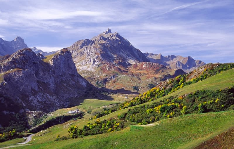 View down the valley of Les Chapieux, French Alps, France.