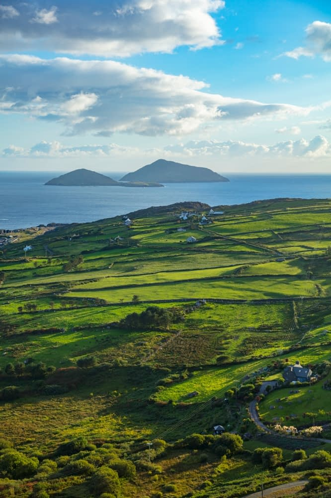 Green fields and coastline near Caherdaniel, County Kerry, Ireland.