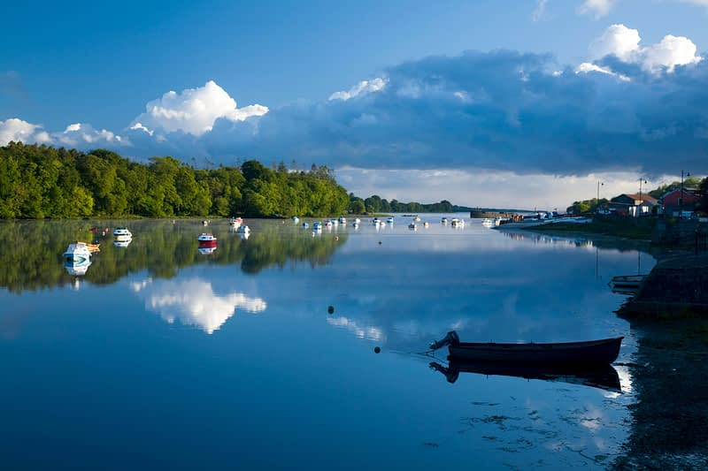 Morning reflections on the River Moy, Ballina, Co Mayo, Ireland.