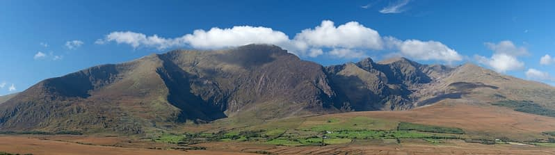Panorama of the Mount Brandon massif,  Dingle Peninsula, County Kerry, Ireland.