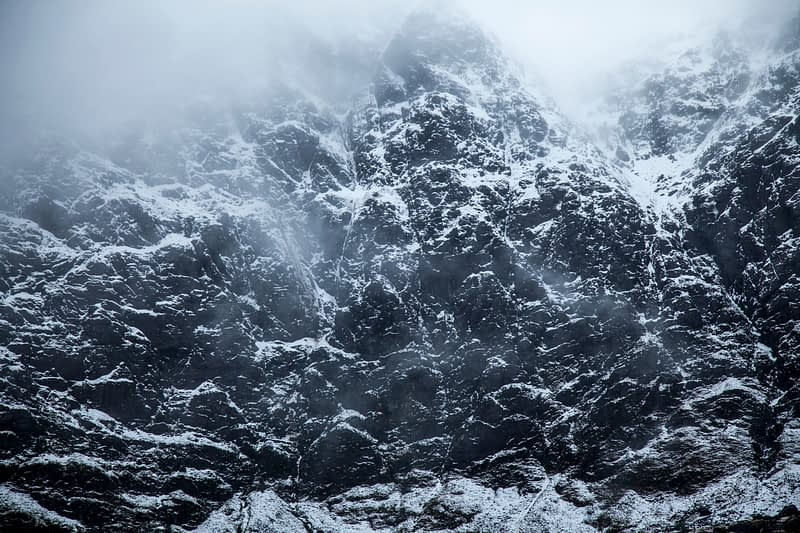 Snow-plastered cliffs of Coum Dubh,  Mweelrea, County Mayo, Ireland.