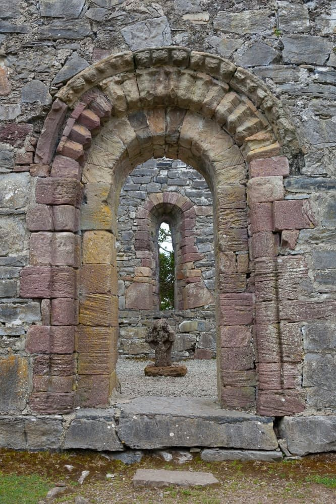 Romanesque church doorway on Innishfallen Island, Killarney National Park, County Kerry, Ireland.
