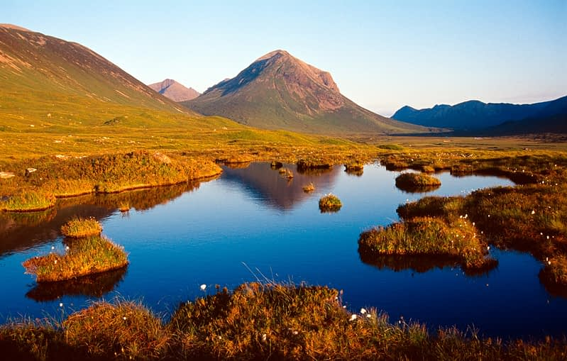 Evening reflections of the Red Cuillin, Isle of Skye, Scotland.