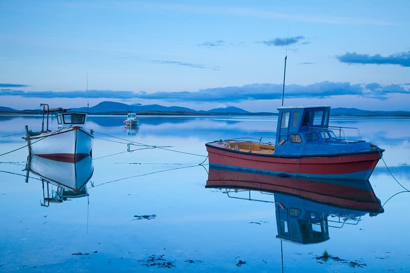 Fishing boats in Clew Bay, Co Mayo, Ireland.